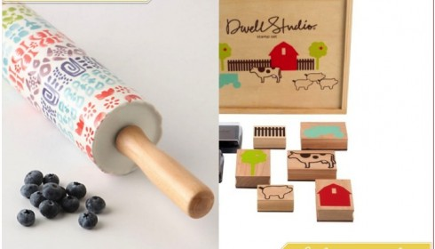 Anthropologie rolling pin and Dwell Studio stamp set