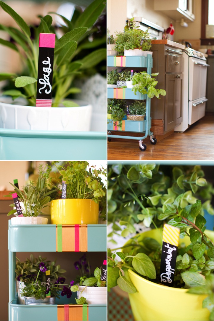 A rolling herb garden neon plant markers this little - Huerto vertical ikea ...