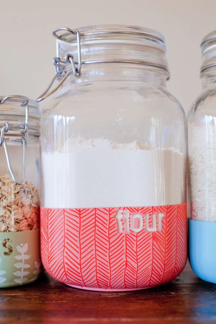 Diy dipped kitchen jars this little street this little for Kitchen jar ideas