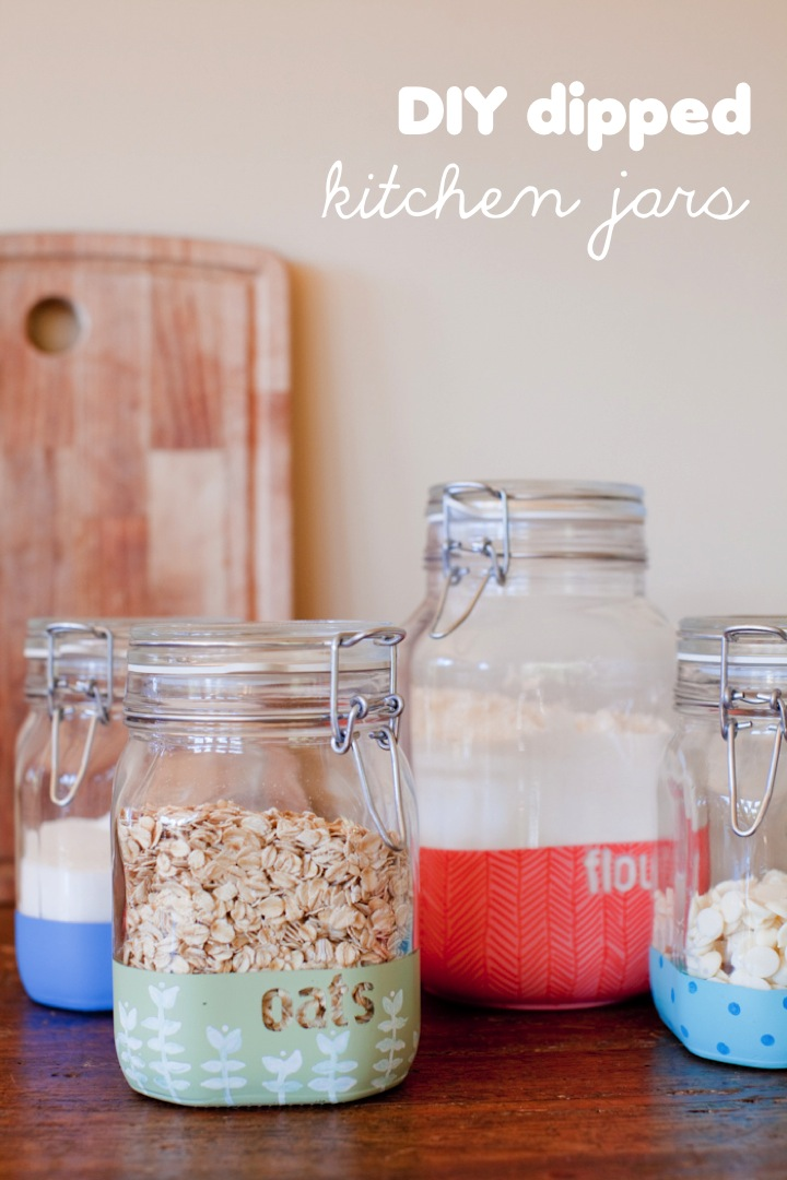 Diy Dipped Kitchen Jars This Little Street This Little Street