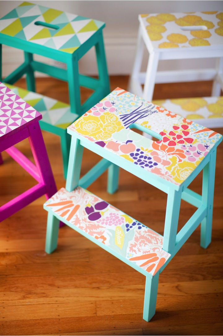 Tremendous Diy Wallpaper Stools This Little Street This Little Street Creativecarmelina Interior Chair Design Creativecarmelinacom