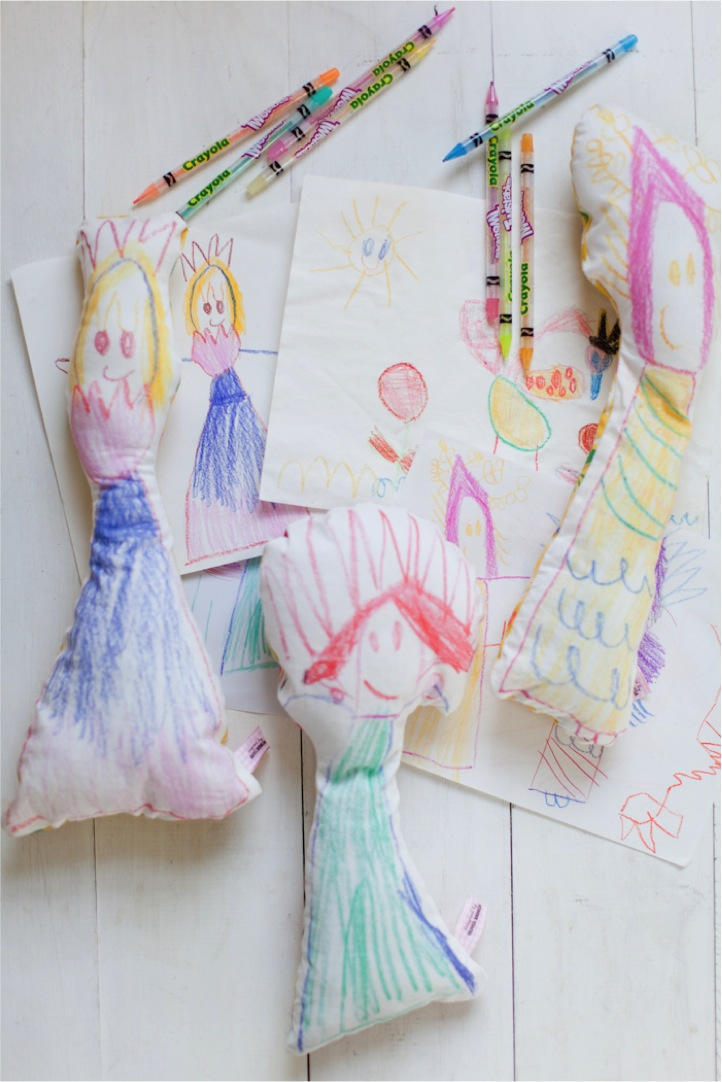 fabric dolls from kids drawings