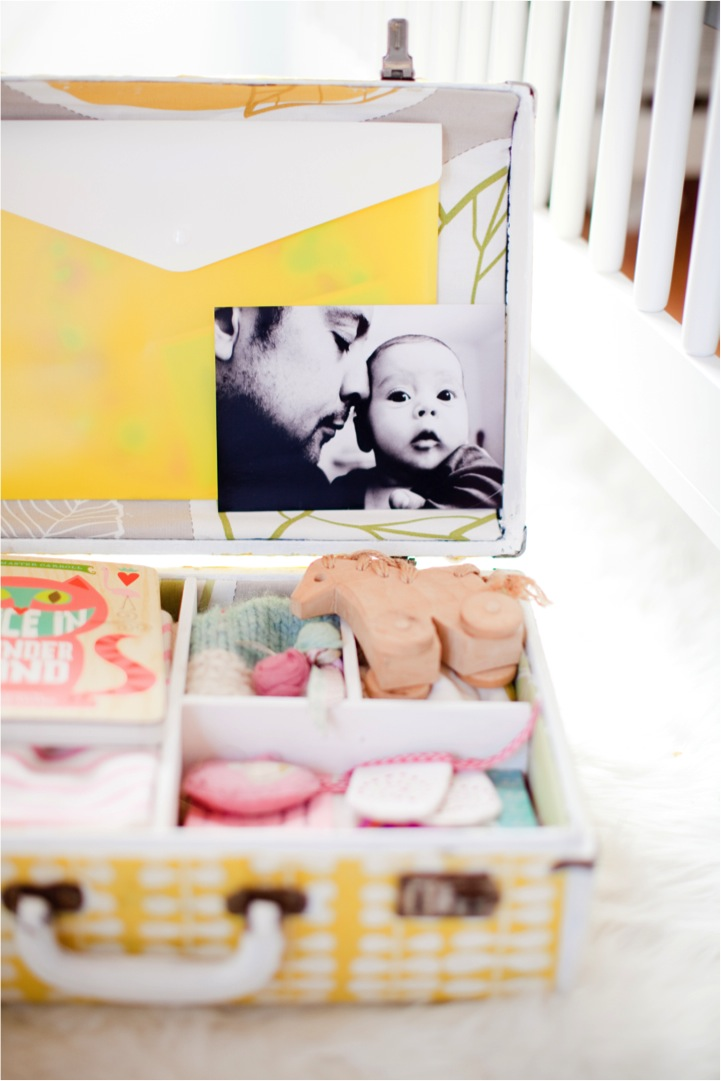 DIY keepsake memory box out of an old suitcase
