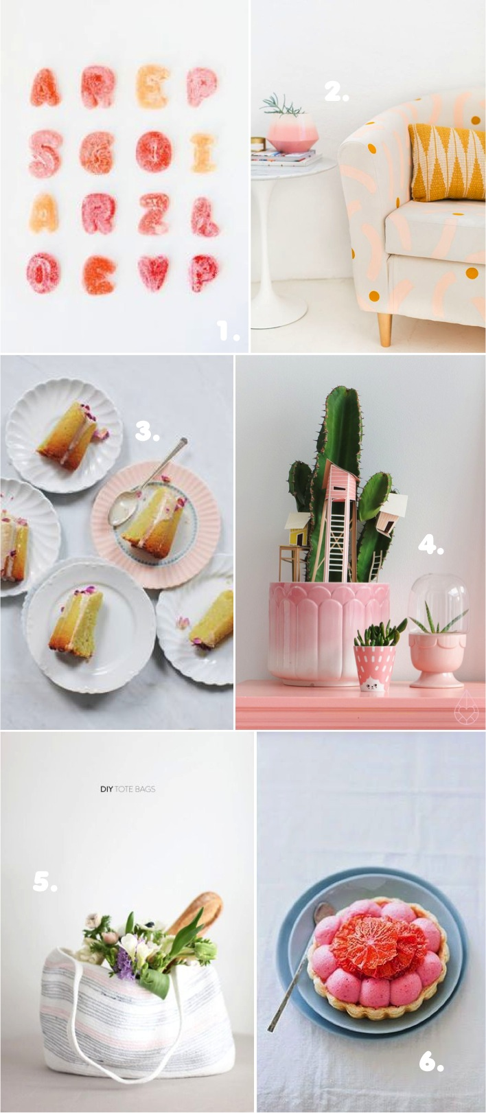 DIY roundup in salmon pink and grey