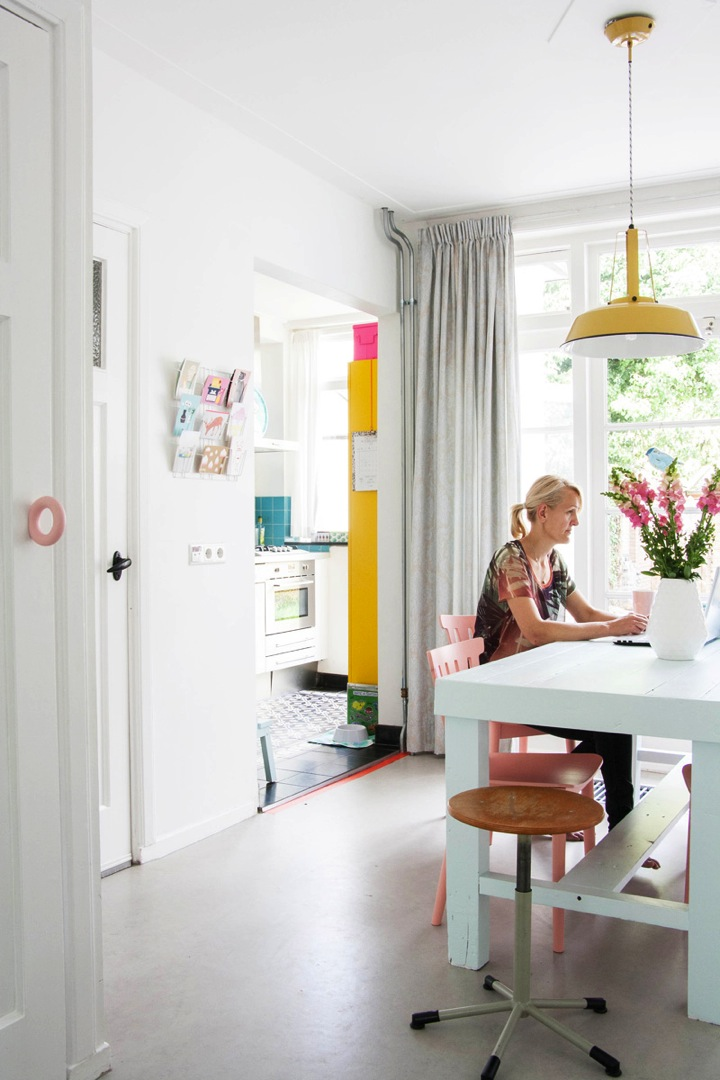 colorful dutch row house dinning room