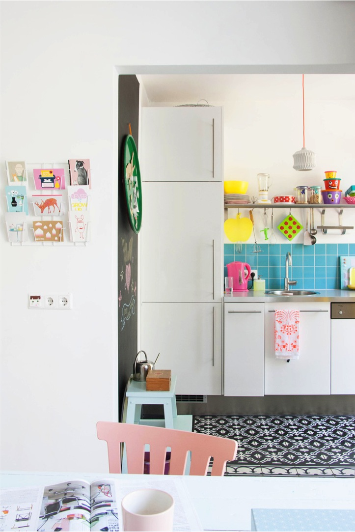 colorful dutch row house kitchen