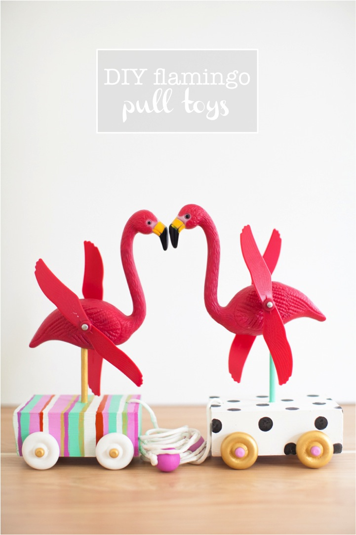 DIY cute flamingo pull toys for the little ones