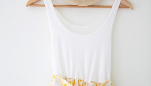 DIY tank top dress using a basic tank top