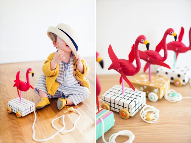 kids DIY flamingo pull toy