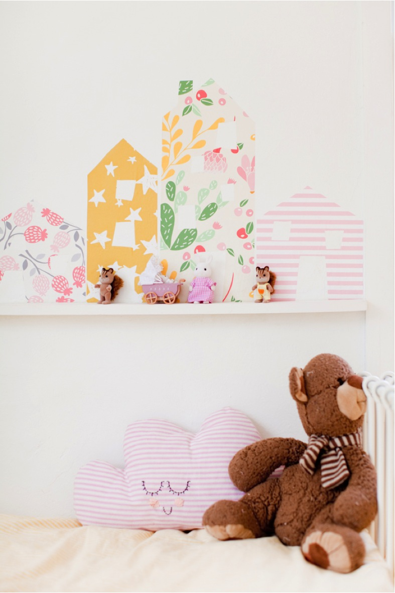 row of houses in little girls room