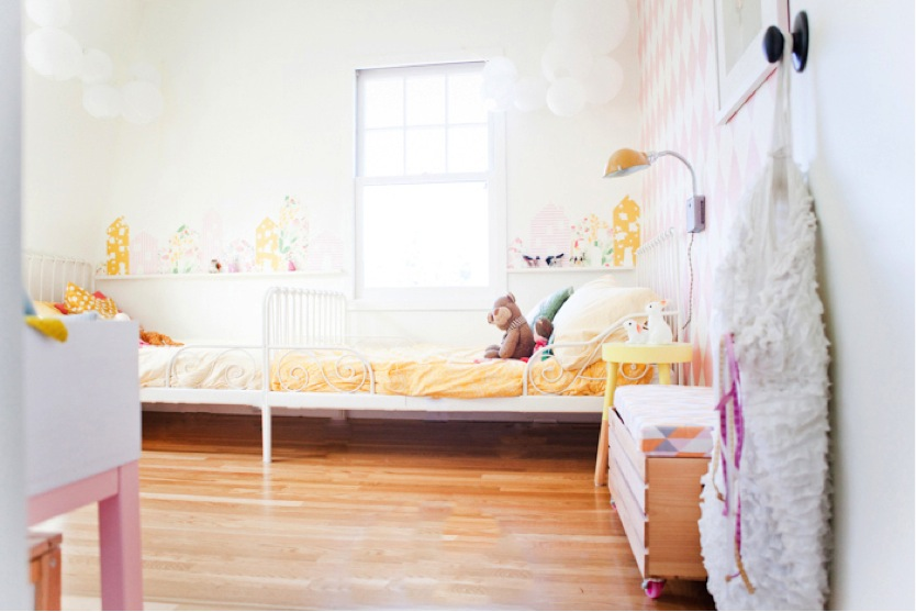 tiny colorful shared sisters bedroom