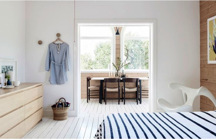 white wooden floor and stripes