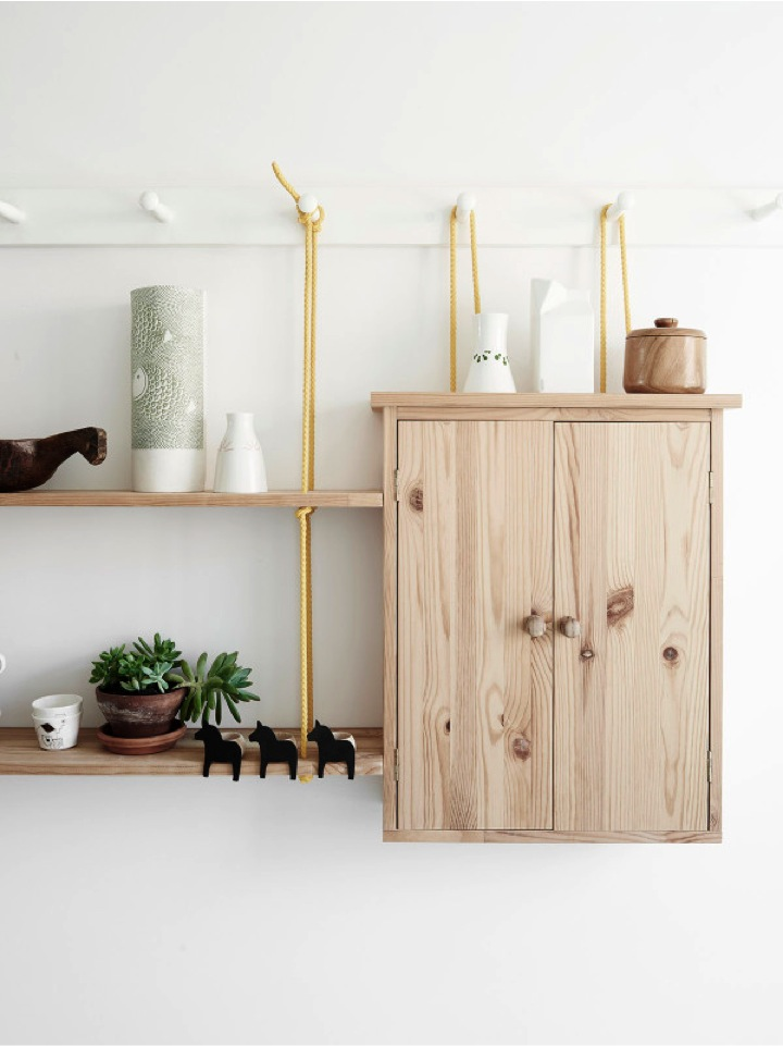 yellow ropes to hang shelves and cabinets