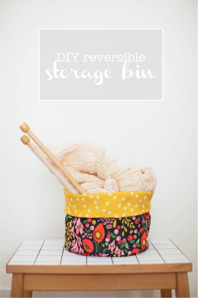 DIY reversible fabric storage bin