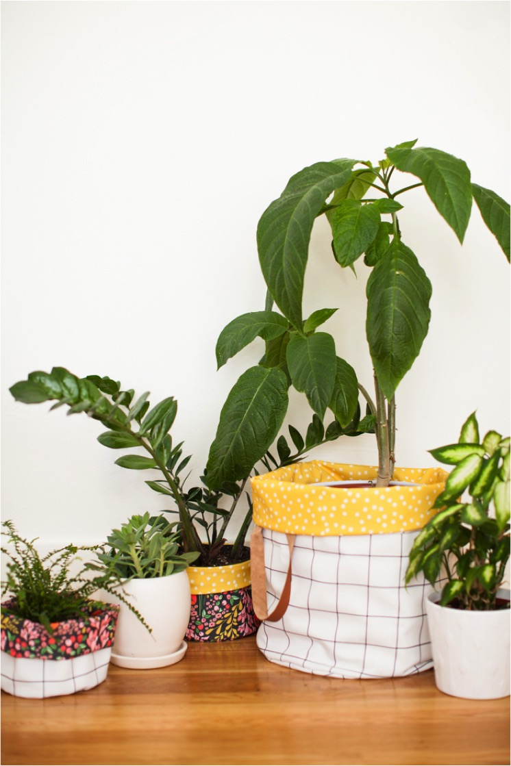 Fabric pots made with California dreaming fabric collection by This Little Street