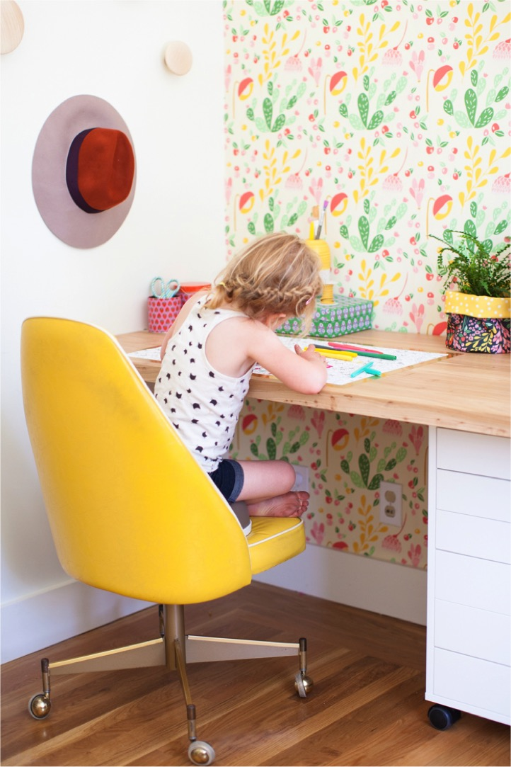 Removable wallpaper as coloring desk wrap by This Little Street