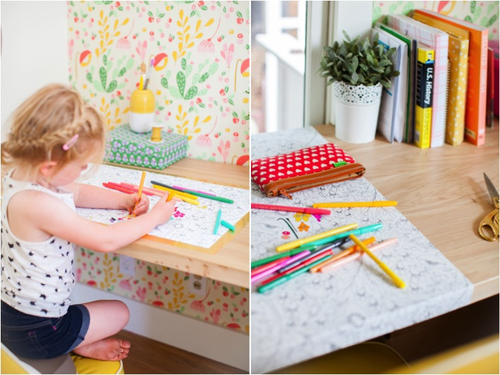 coloring desk wrap using removable wallpaper by This Little Street