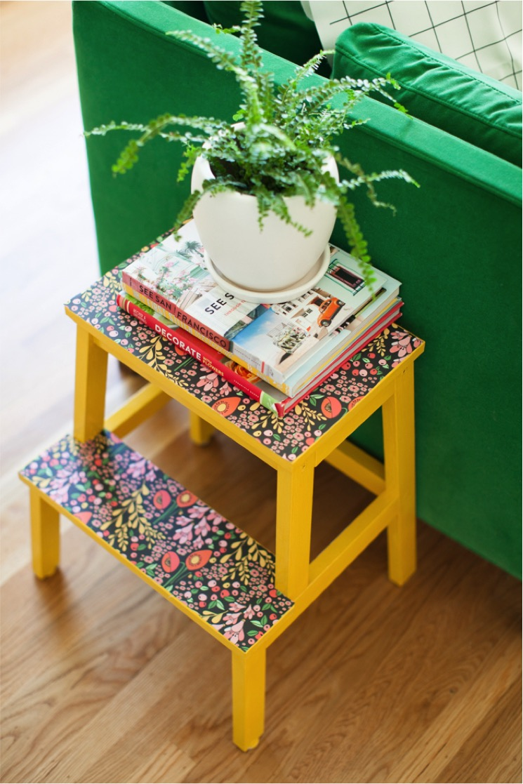 yellow stool and floral pattern