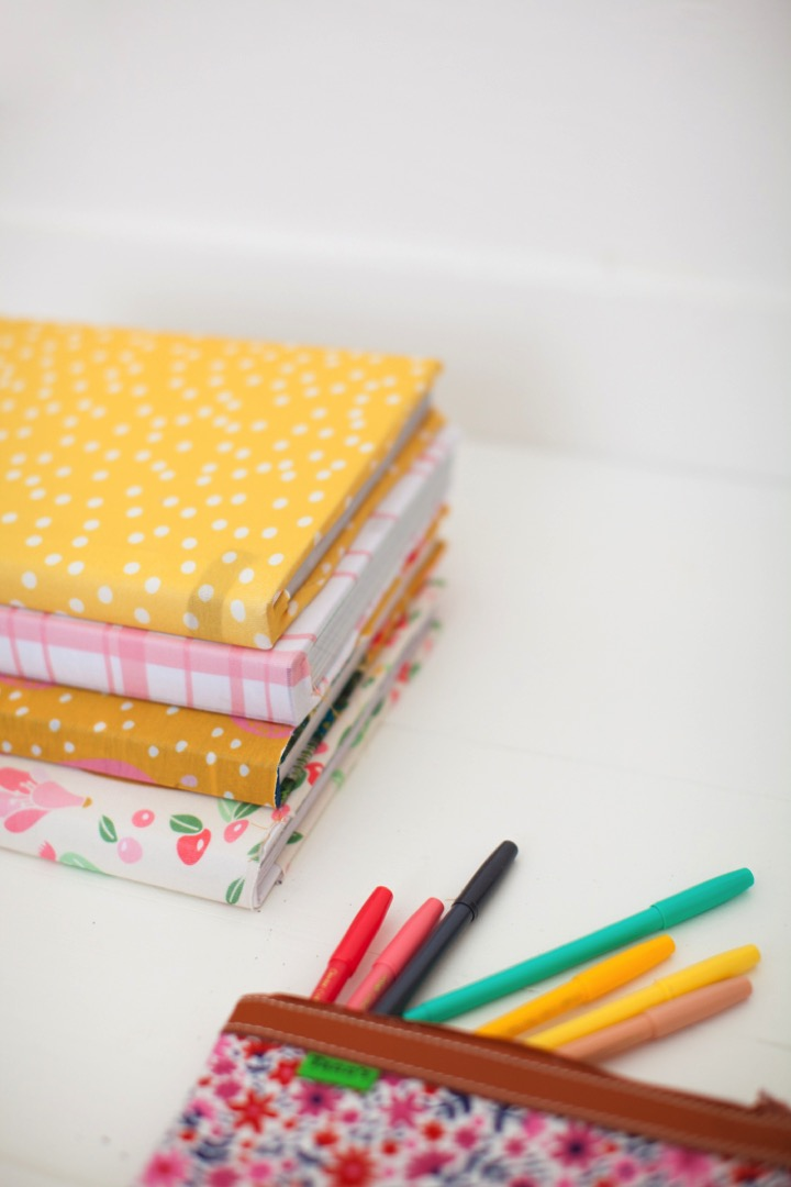 DIY reusable fabric book covers
