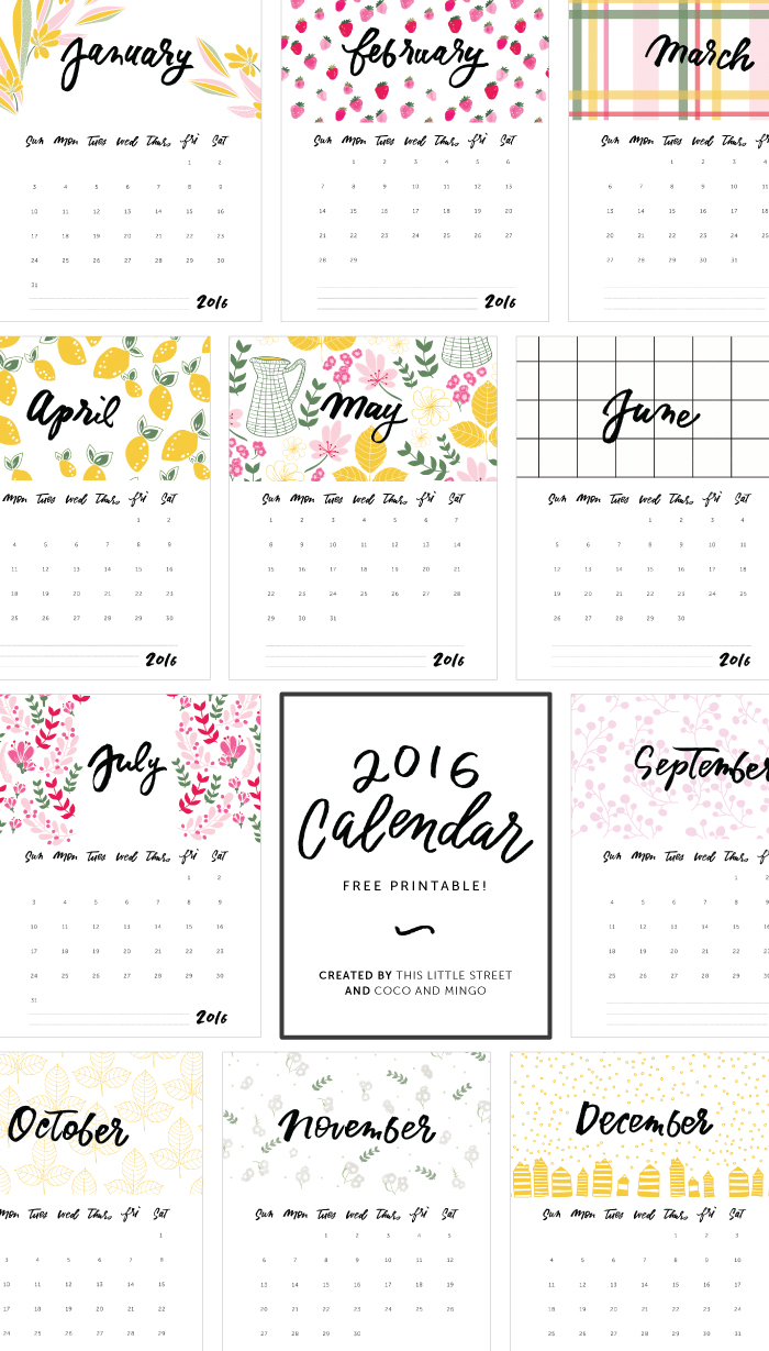 Typography Calendar Free : Calendar free printable this little street