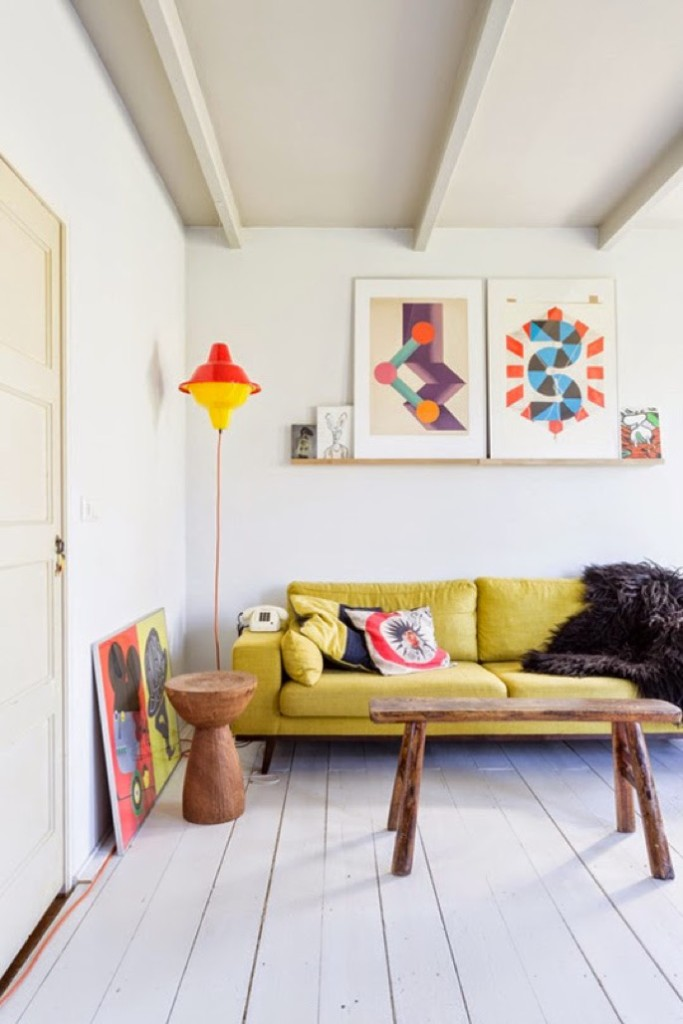 yellow couch scandinavian home