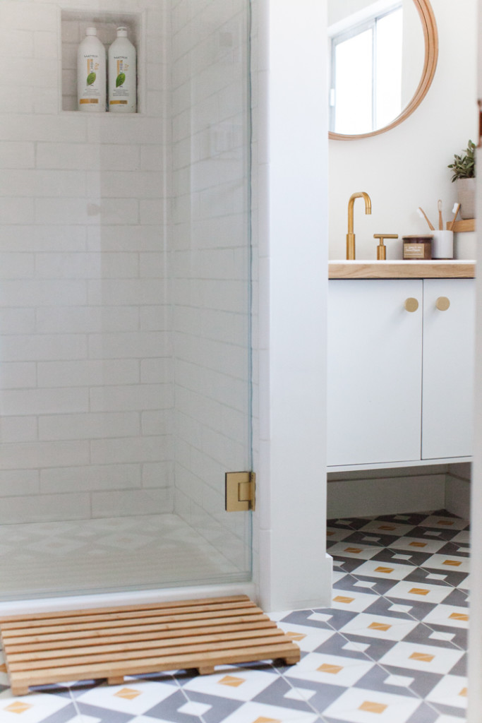 bright modern bathroom with cement tiles