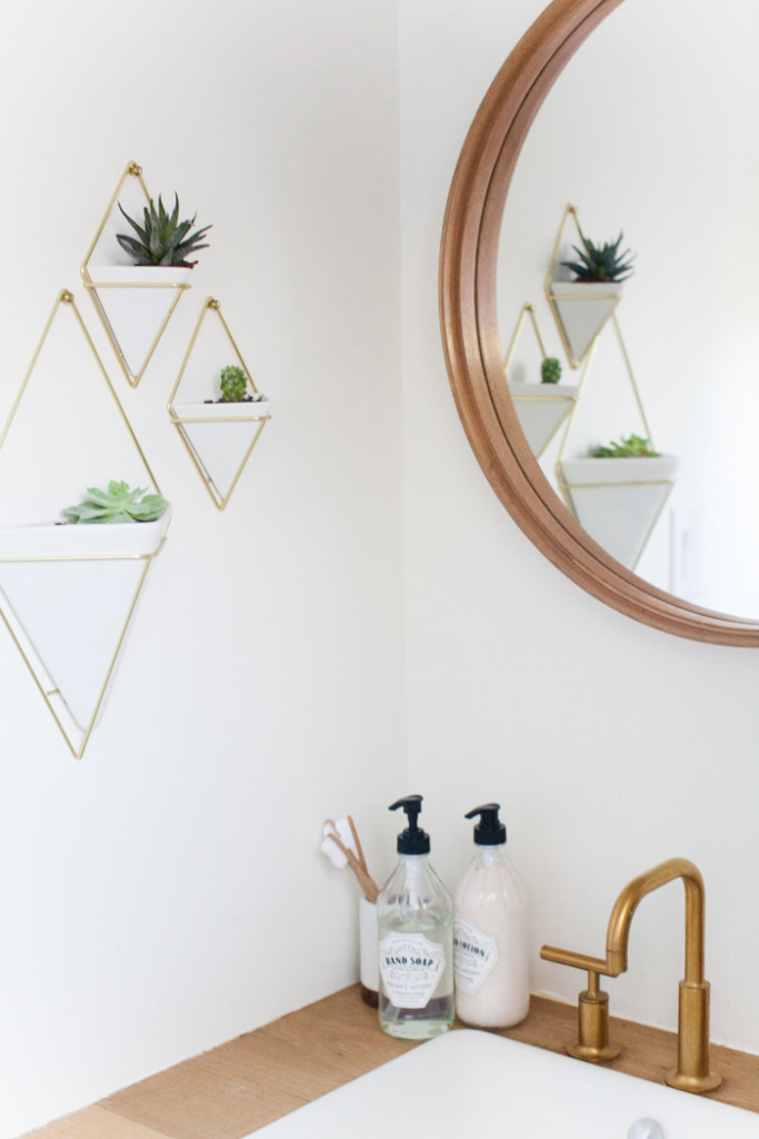 brass planters and wood bathroom mirror