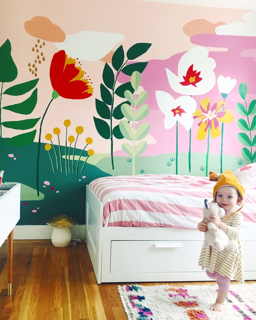 Whimsical mural for the girls bedroom this little street for Girls murals